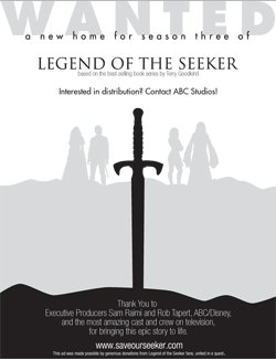 Fans of Legend of the Seeker voted to run this ad in the Hollywood Reporter