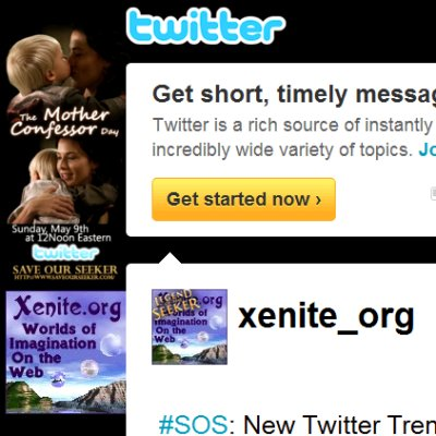 Xenite.Org's Twitter background to honor Mother Confessor Day, May 9
