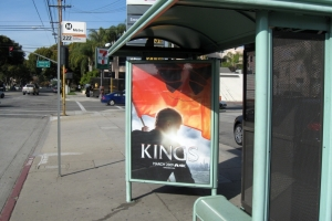 Picture of the bus stop where the Save Our Seeker ad will be shown from June 7 through July 4.